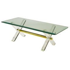 Lucite & Brass X-Base Trestle Coffee Table