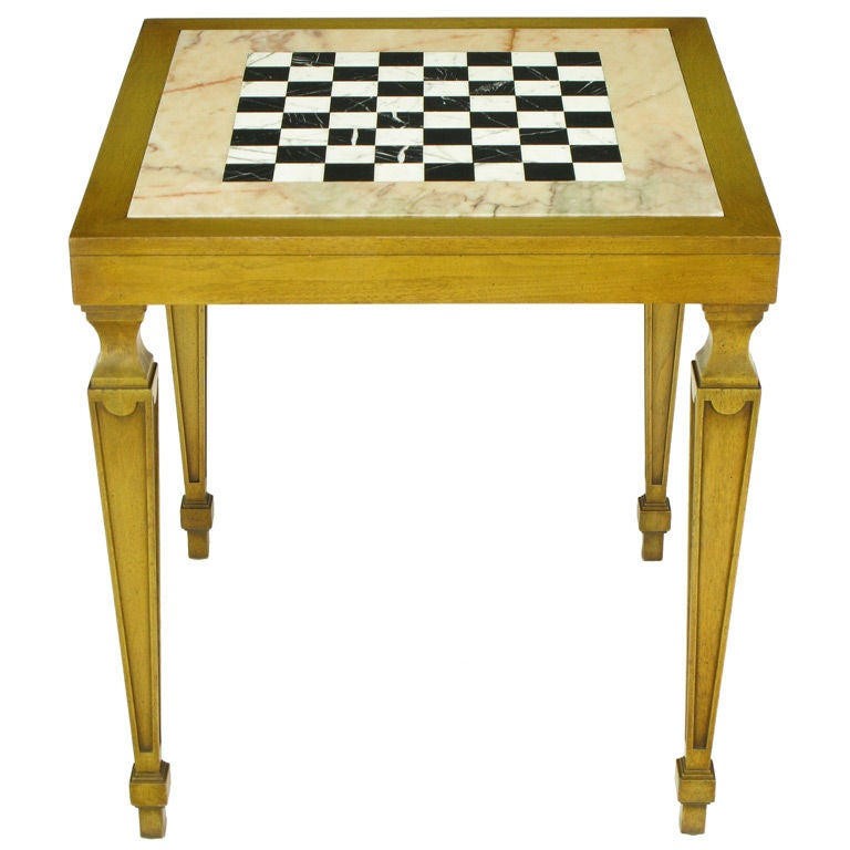 Bleached walnut inlaid marble regency game table for 11 in 1 game table