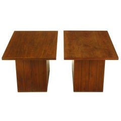 Pair Rectilinear Walnut Pedestal End Tables