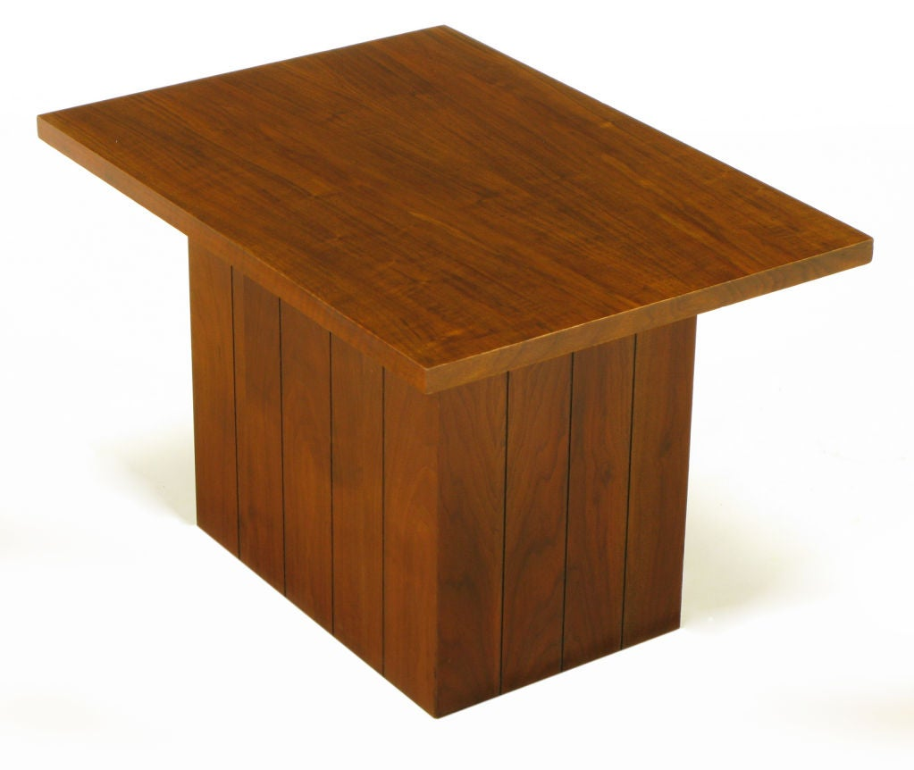 Pair Rectilinear Walnut Pedestal End Tables at 1stdi