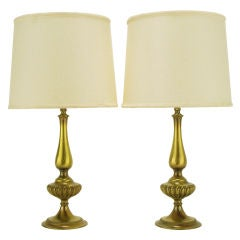 Pair Rembrandt Lighting Solid Brass Regency Table Lamps