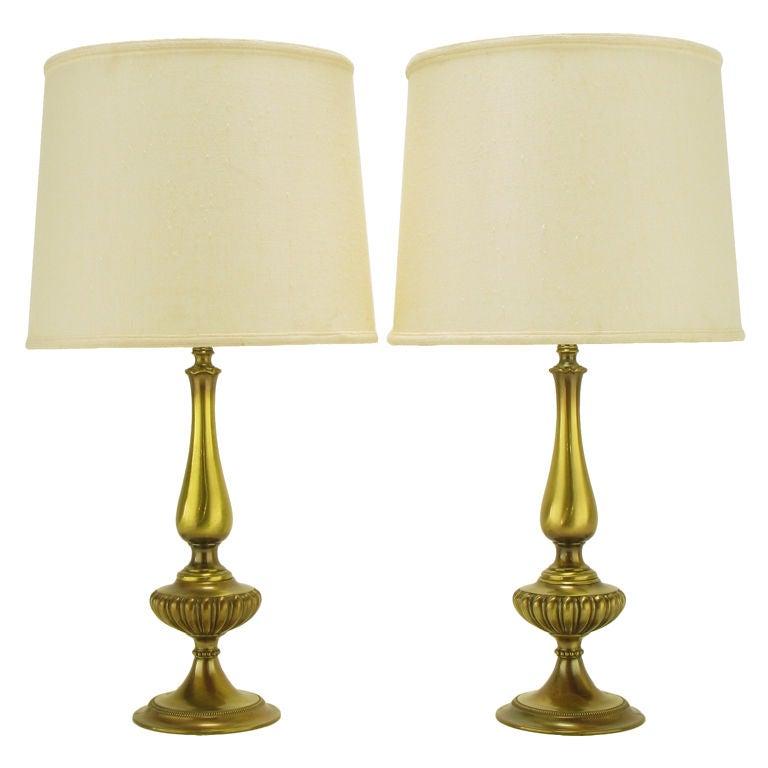 pair rembrandt lighting solid brass regency table lamps at. Black Bedroom Furniture Sets. Home Design Ideas