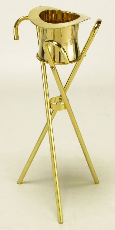 American Brass Top Hat Champagne Cooler On Brass Cane Tripod Stand