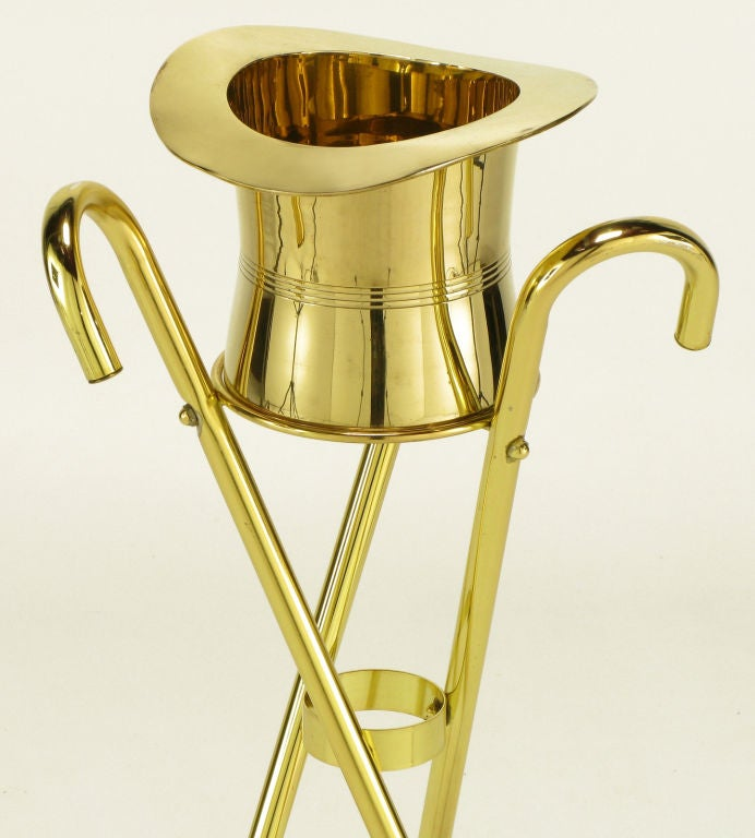 Plated Brass Top Hat Champagne Cooler On Brass Cane Tripod Stand