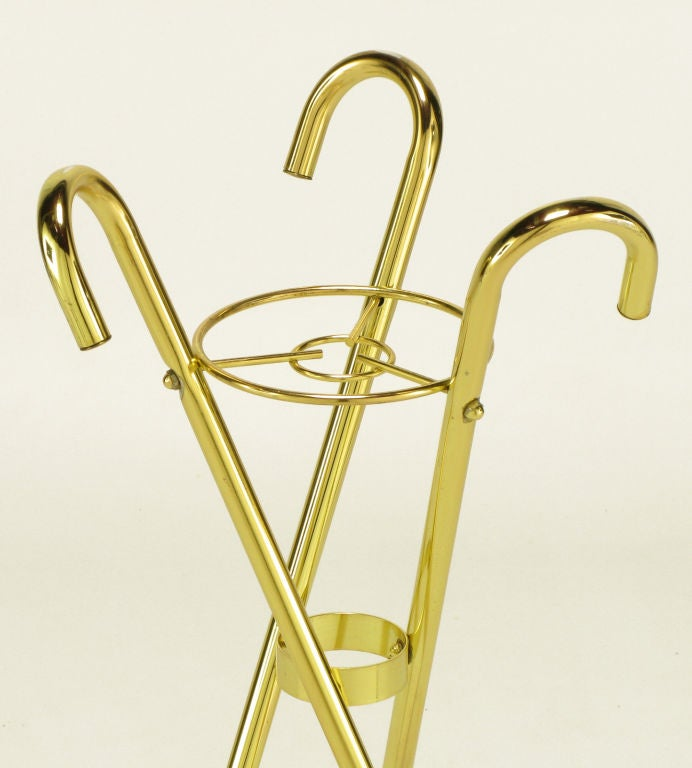 Late 20th Century Brass Top Hat Champagne Cooler On Brass Cane Tripod Stand