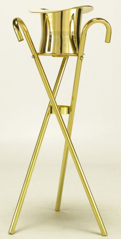 Brass Top Hat Champagne Cooler On Brass Cane Tripod Stand 1