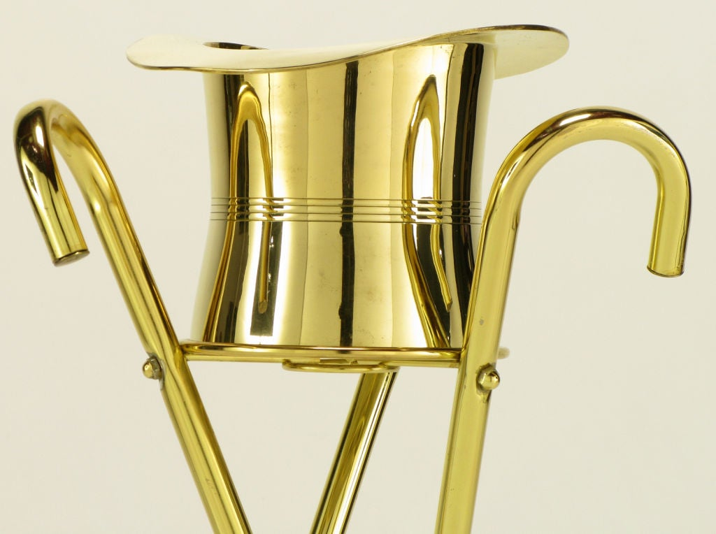 Brass Top Hat Champagne Cooler On Brass Cane Tripod Stand 2