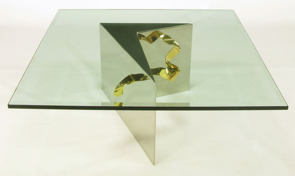 Post-Modern Custom Artisan Chrome, Brass, and Glass Coffee Table For Sale