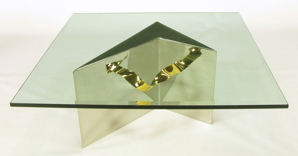 Custom Artisan Chrome, Brass, and Glass Coffee Table In Good Condition For Sale In Chicago, IL