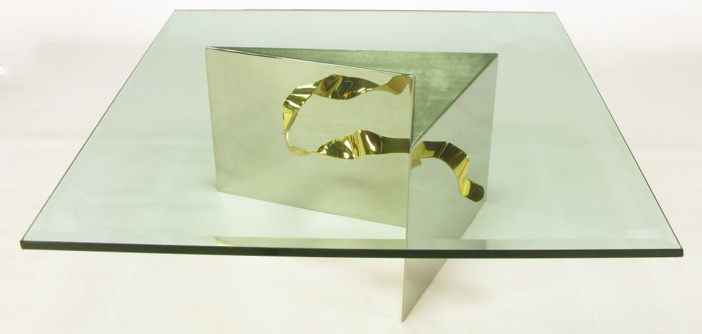 20th Century Custom Artisan Chrome, Brass, and Glass Coffee Table For Sale