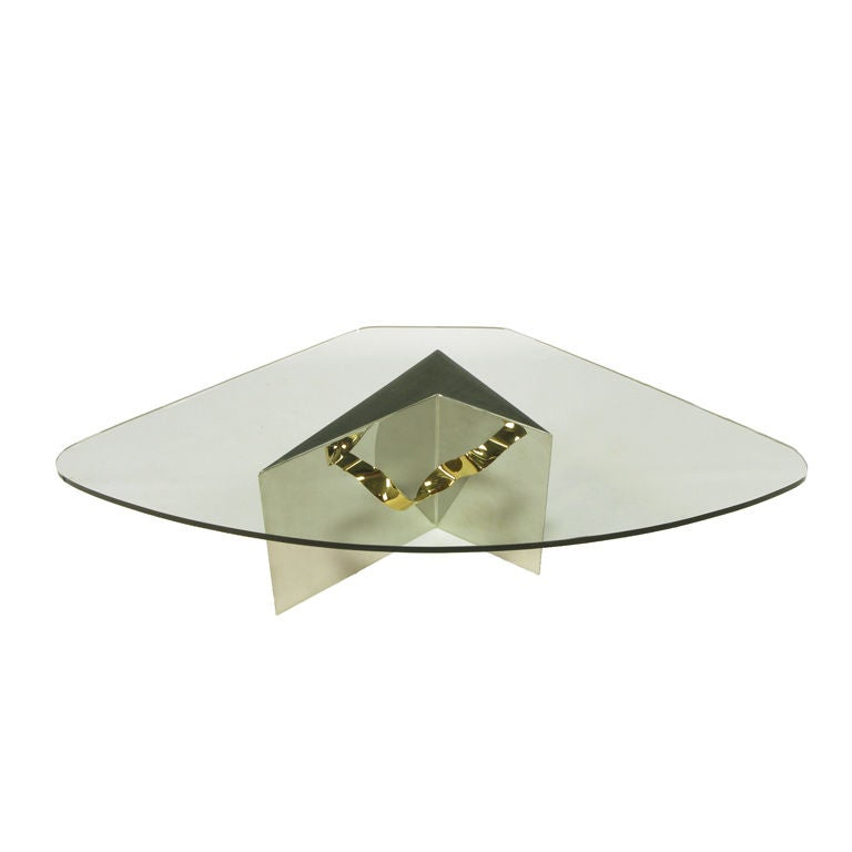 Custom Artisan Chrome, Brass, and Glass Coffee Table For Sale