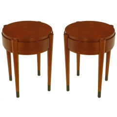 Pair Round Red Birch Art Deco Revival Side Tables.