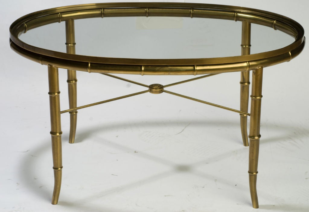 Mastercraft oval faux bamboo brass and glass coffee table at 1stdibs Glass oval coffee tables