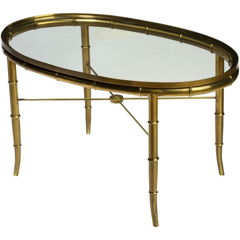 Mastercraft Oval Faux Bamboo Brass And Glass Coffee Table