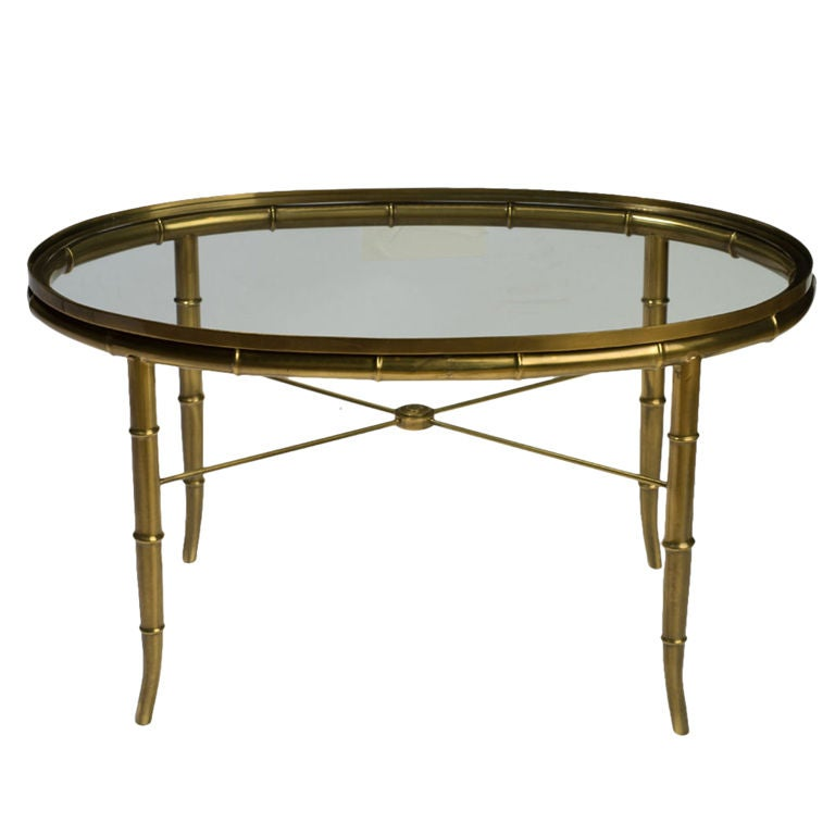 Oval Coffee Table Antique: Mastercraft Oval Faux Bamboo Brass And Glass Coffee Table
