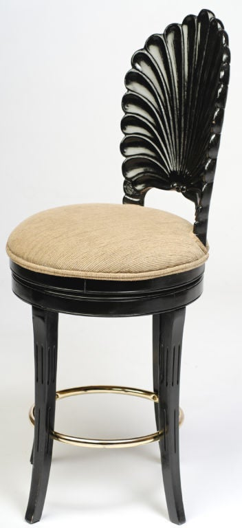Italian Pair Ebonized Wood Grotto Bar Stools For Sale