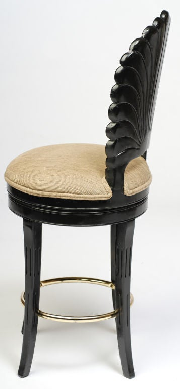 Carved Pair Ebonized Wood Grotto Bar Stools For Sale
