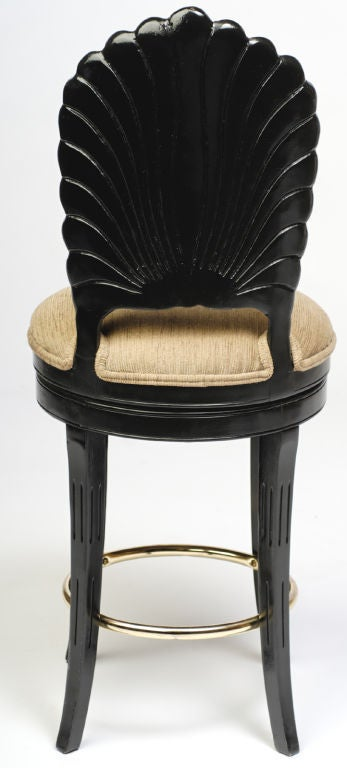 20th Century Pair Ebonized Wood Grotto Bar Stools For Sale