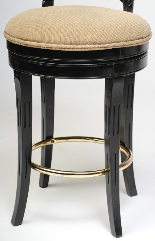 Pair Ebonized Wood Grotto Bar Stools For Sale 1