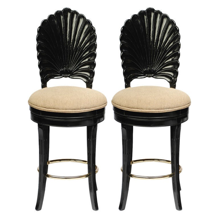 Pair Ebonized Wood Grotto Bar Stools For Sale