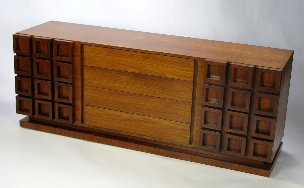 American Peck Hills Walnut Dresser With Deep Geometric Relief Front For