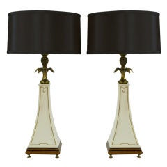 Pair Stiffel Porcelain Obelisk & Decorative Brass Table Lamps.