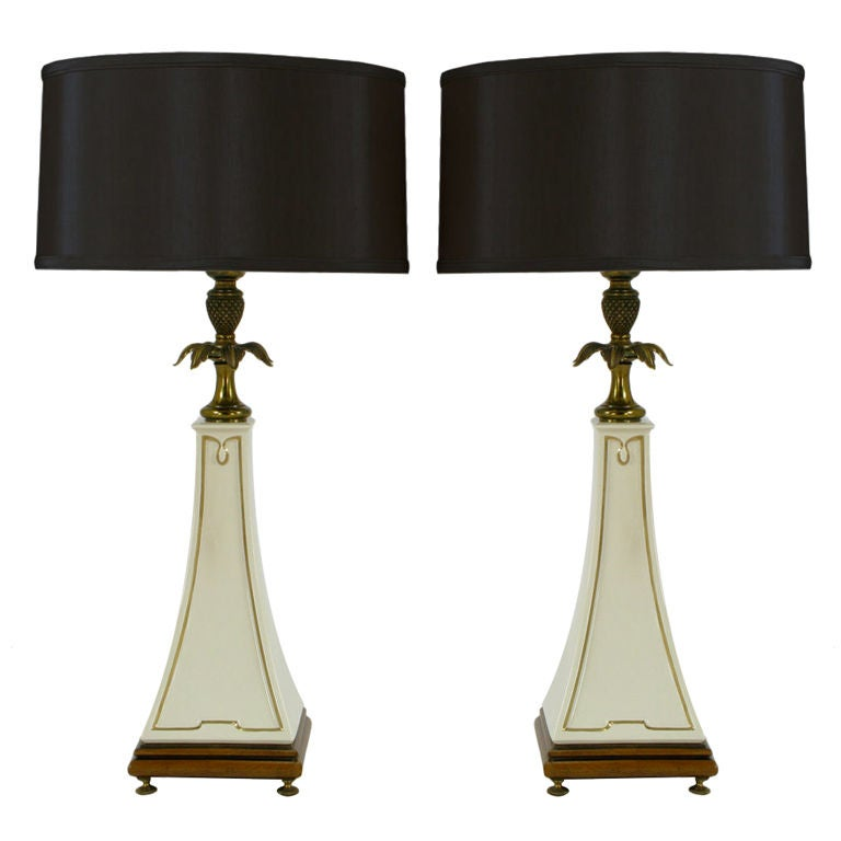 Pair Stiffel Porcelain Obelisk And Decorative Brass Table Lamps For