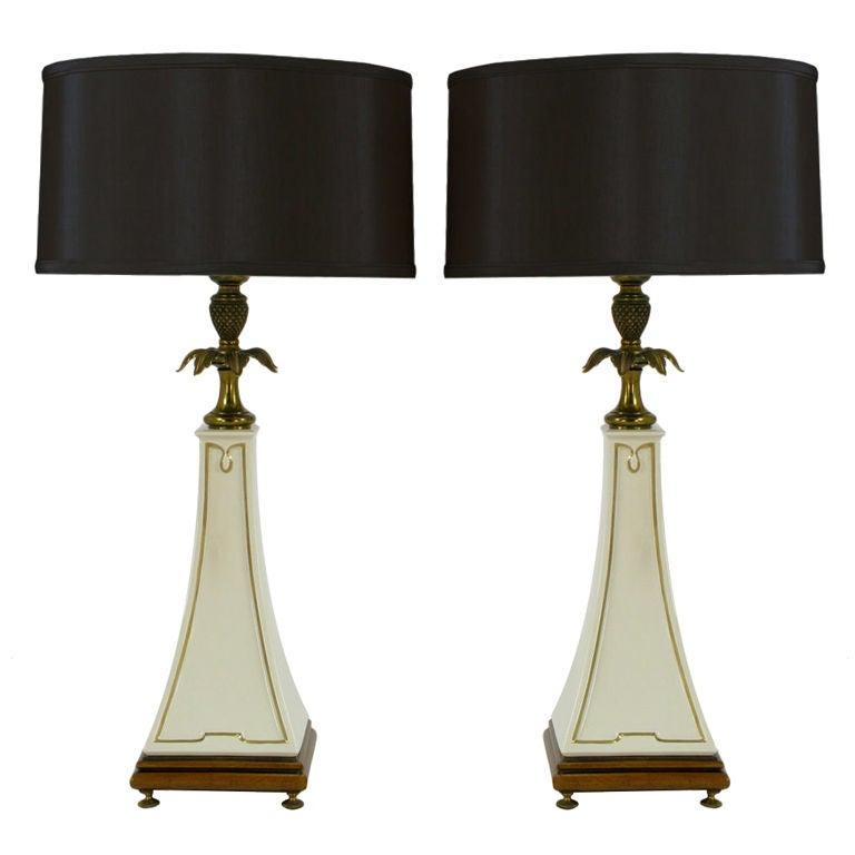 Pair Stiffel Porcelain Obelisk & Decorative Brass Table Lamps.