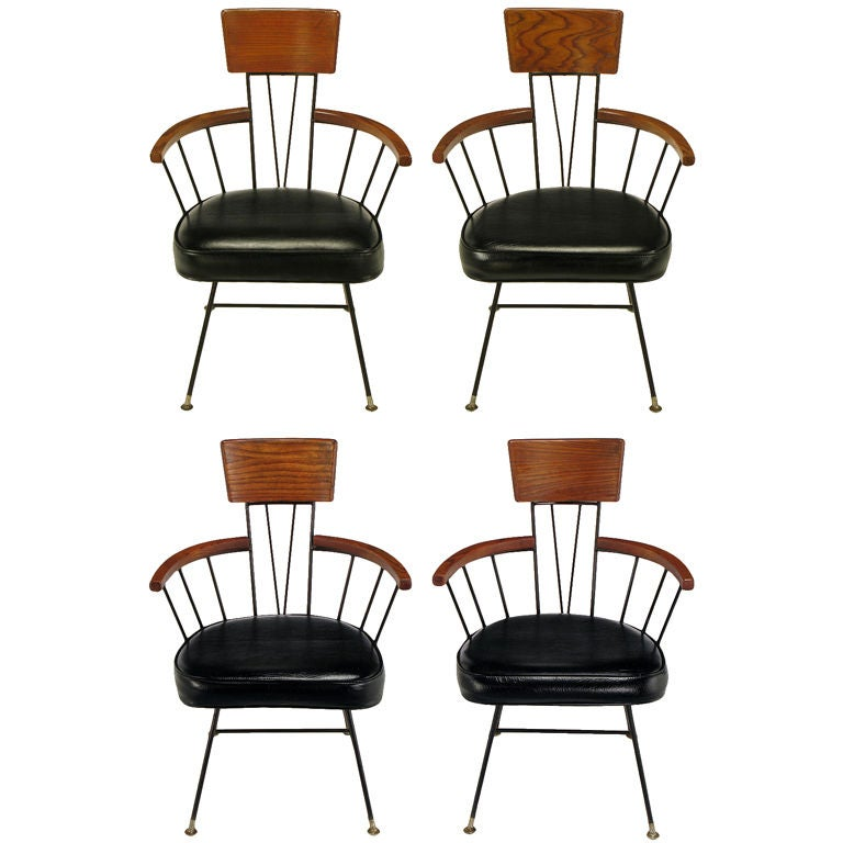 Set Four Paul McCobb Wrought Iron And Ash Dining Chairs