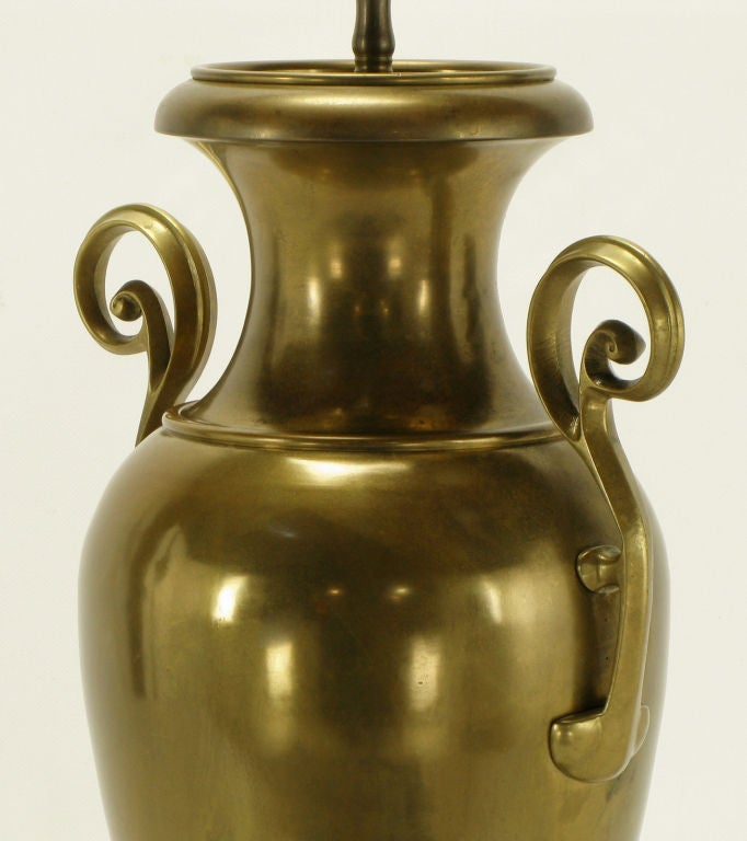 Marble Chapman Brass Urn Form Table Lamp, circa 1972 For Sale