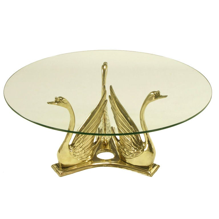 Solid Brass Trio Of Swans Round Coffee Table At 1stdibs