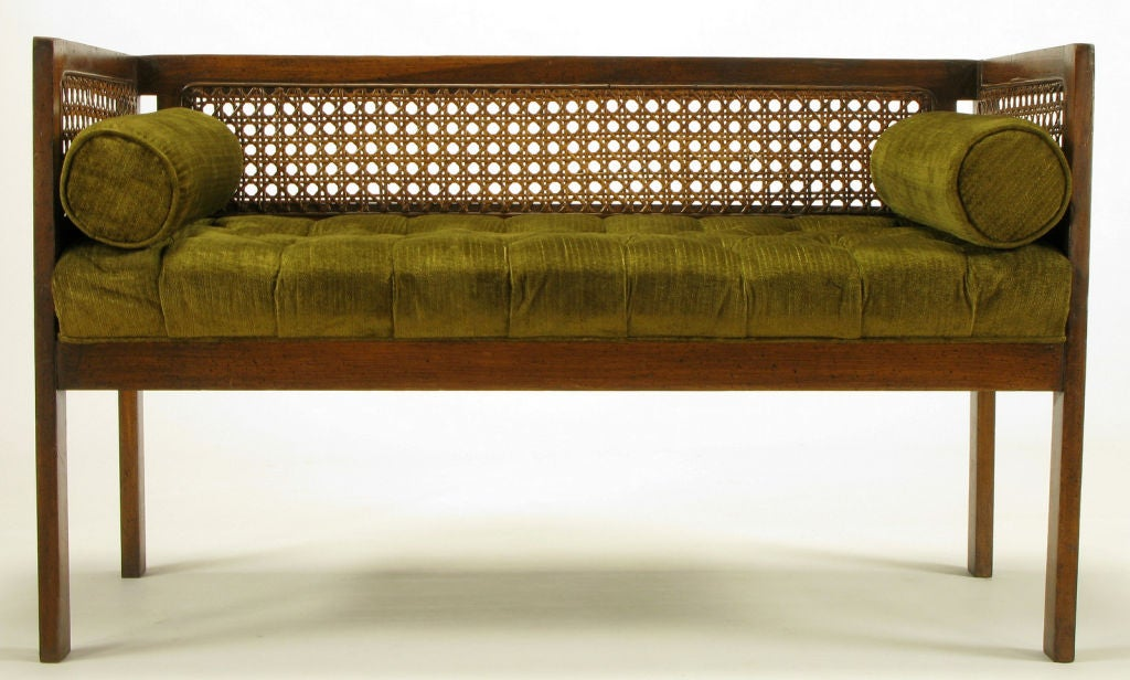 Even Arm Walnut And Cane Button Tufted Bench At 1stdibs