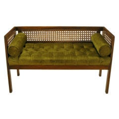 Even Arm Walnut & Cane Button Tufted Bench