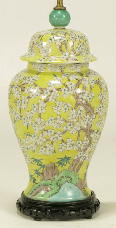 Pair Hand Painted Yellow Glaze Ginger Jar Table Lamps at ... |Yellow Ginger Jar Table Lamps
