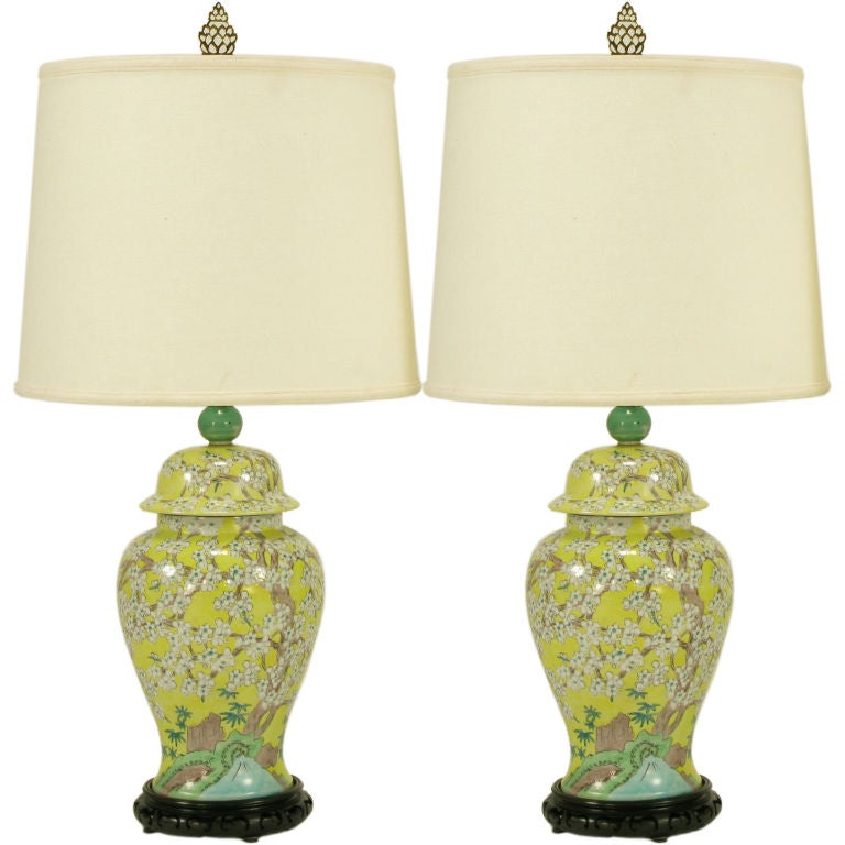 Pair Hand Painted Yellow Glaze Ginger Jar Table Lamps At