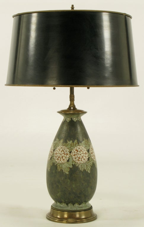 Hand Thrown Pottery Table Lamp With Hydrangea Decoration