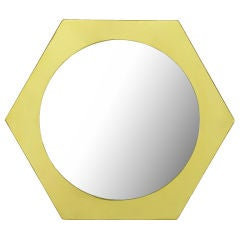 La Barge Hexagonal Solid Brass Frame Mirror.