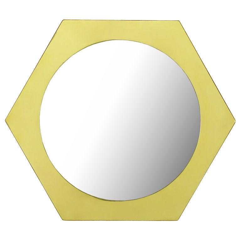La Barge Hexagonal Solid Brass Frame Mirror.