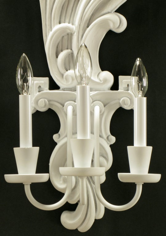 Wooden Electric Wall Sconces : Pair Tall White Lacquered Carved Wood Electric Sconces at 1stdibs