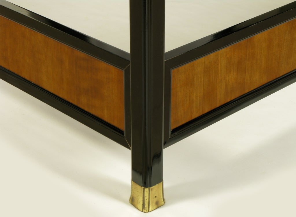 Henredon Mirror Black Lacquer And Walnut Queen Canopy