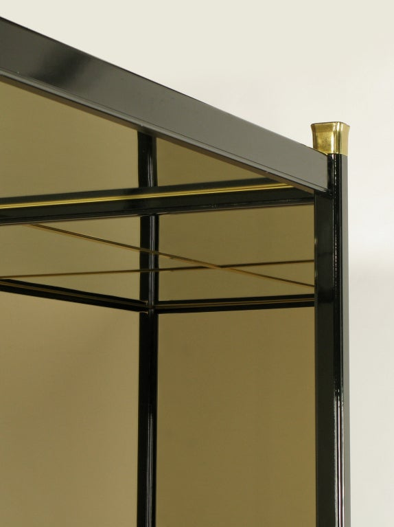 Henredon Mirror Black Lacquer And Walnut Queen Canopy Bed At 1stdibs