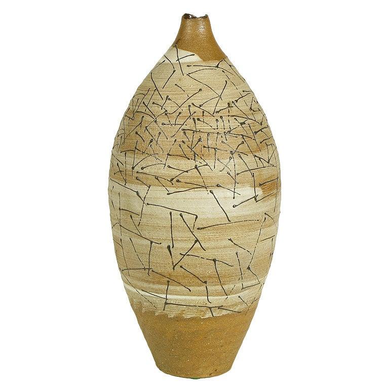 Hand Thrown & Glazed Terra Cotta Free Edge Vase