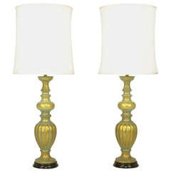 Pair of Substantial Patinated Gilt Baluster Table Lamps