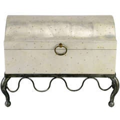 Silver Leaf Wood Chest on Distressed Iron Cabriole Stand