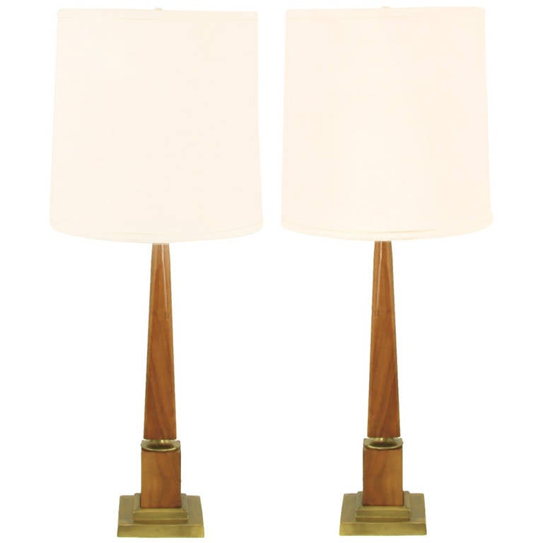 Pair of Walnut Obelisk Table Lamps with Tiered Brass Plinths For Sale