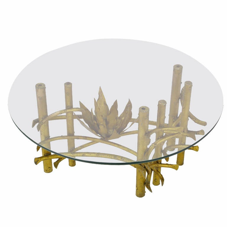 Brutalist Gilt Iron Lotus Coffee Table with Glass Top