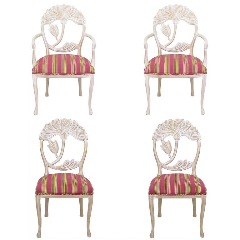 Four Lime Wash Floral Carved Dining Chairs in the Manner of Phyllis Morris 1