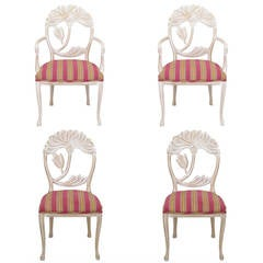 Four Lime Wash Floral Carved Dining Chairs in the Manner of Phyllis Morris