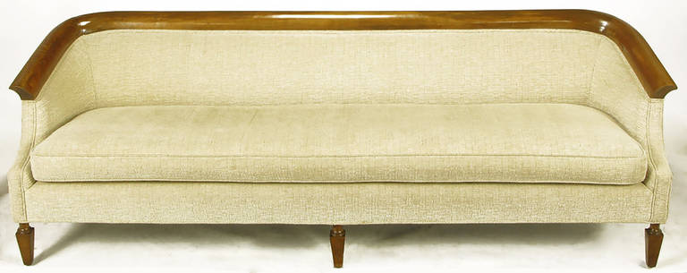 Empire Revival Walnut and Taupe Boucle' Sofa 3