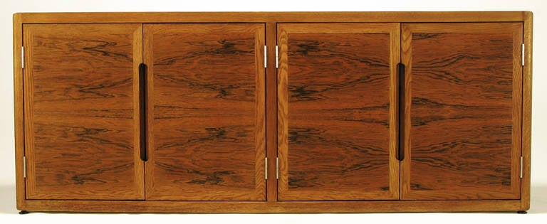 Dunbar Rosewood and White Oak Credenza In Good Condition For Sale In Chicago, IL